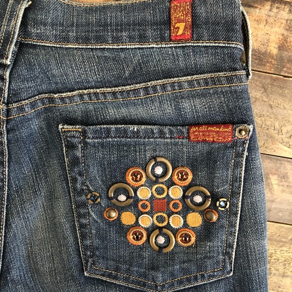 7 For All Mankind Denim - For All Mankind Button Bling Bootcut Denim Jeans